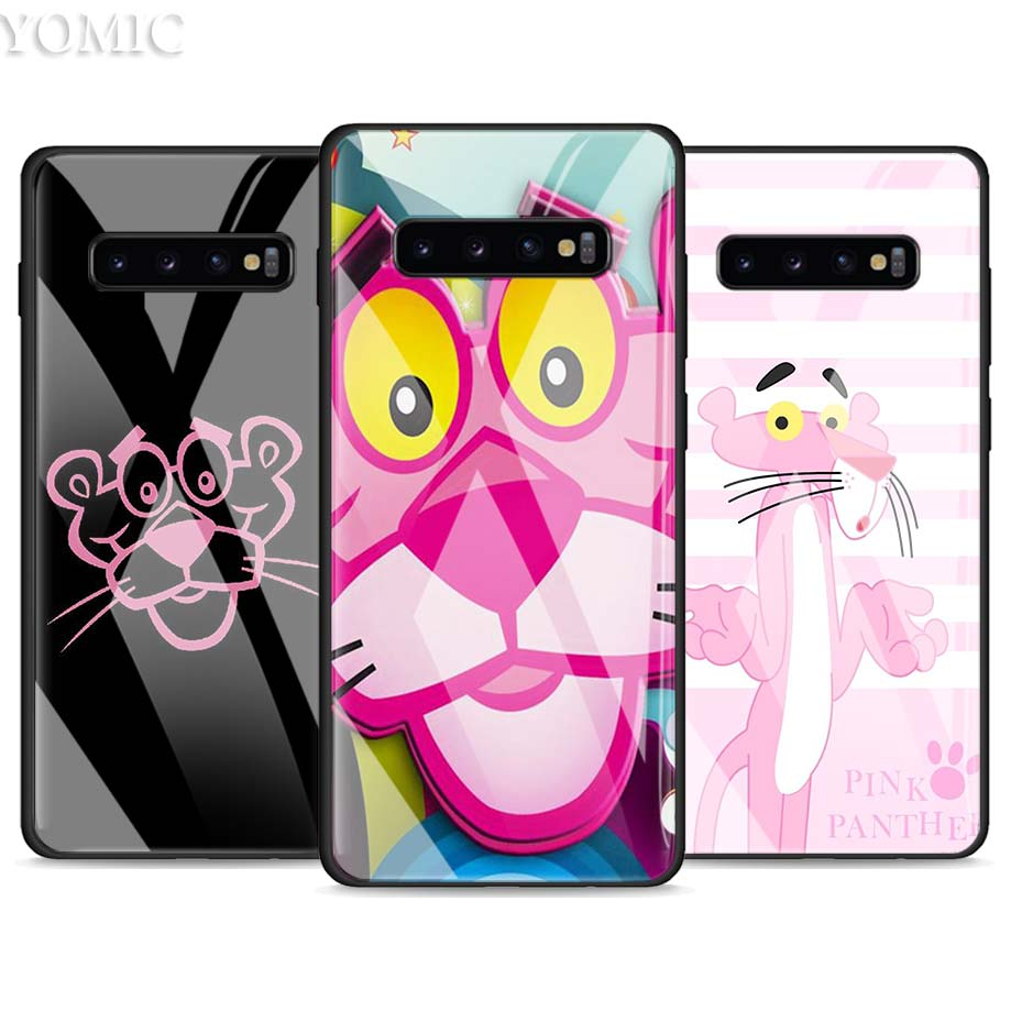pink panther Tempered Glass Case for <font><b>Samsung</b></font> Galaxy <font><b>S10e</b></font> S8 S9 S10 Plus A50 A70 Note 9 10 Phone Cover <font><b>Capa</b></font> image