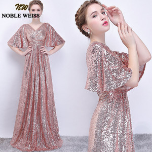 Image 3 - Noble weiss elegante rosa lantejoulas vestidos de baile 2019 sexy com decote em v longo vestido de festa para vestidos de festa africano pageant wear