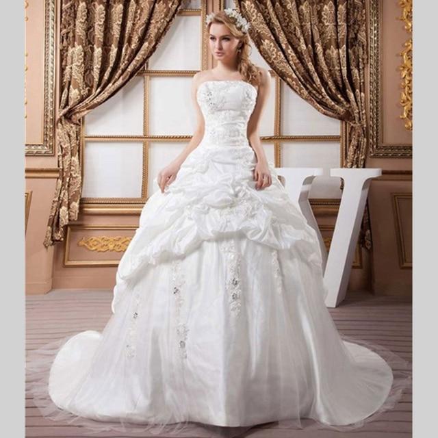 2015 novela bola blanca vestido de encaje de la boda vestidos con