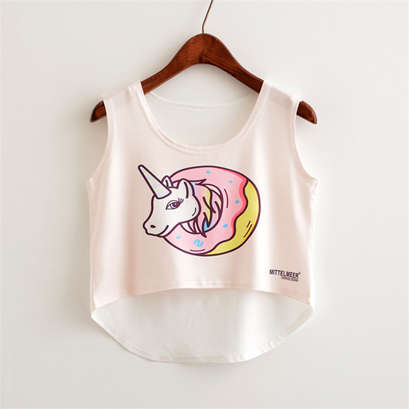 0980e606d38e4 Summer Clothes For Women Crop Top Unicorn Food Letter Printed Casual Tank  Tops Women Cute Harajuku