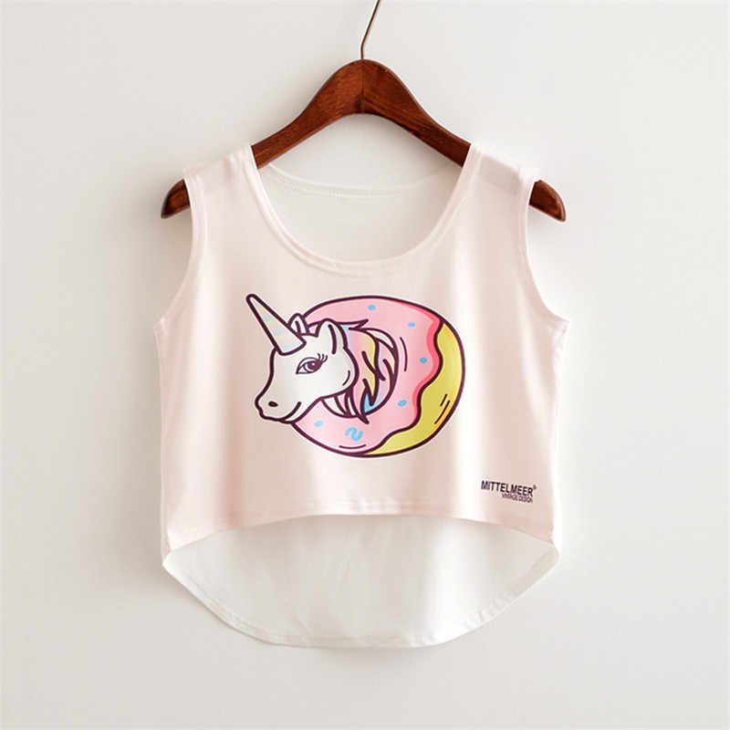 Summer Clothes For Women Crop Top Unicorn Food Letter Printed Casual Tank Tops Women Cute Harajuku Top Tee Girl