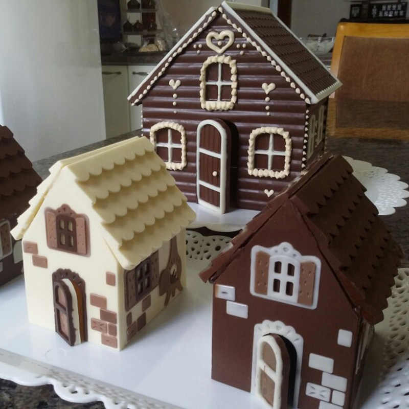 2 Pcs/Set 3D Christmas Gingerbread House Silicone Mold Chocolate Cake Mould DIY Biscuits Baking Tools E2S