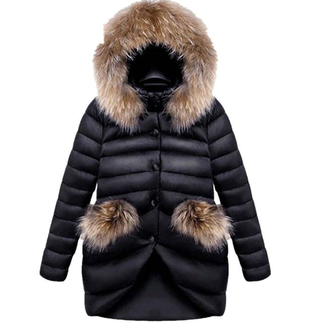 Mulheres Jaqueta de inverno de Alta Qualidade Para Baixo Casaco 2017 Nova Moda mulheres jaqueta de Inverno Grande Gola De Pele Casacos de Inverno Longo Parka M333