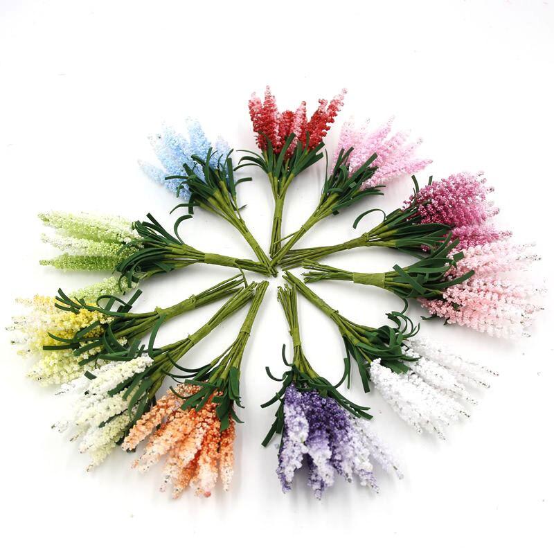 50 UNIDS Falso Flores Artificiales Ramo de Flores de Lavanda Artificial Jardín d