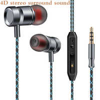 Original FGJ01 Metal Earphone bass DJ Music earbuds handsfree auriculares with mic for samsung galaxy redmi smartphone MP3