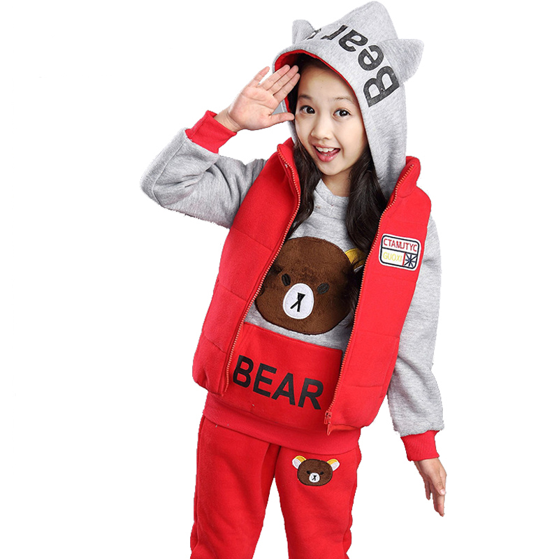 Baby Girls Clothes Set 2016 Winter Sport Suits 3Pieces(Vest+Sweatshirts+Pants) Bear Girls Children Clothes Sets Suit For 5-11T augur large capacity men women crossbody bag for pad handbags canvas shoulder bag messenger bag
