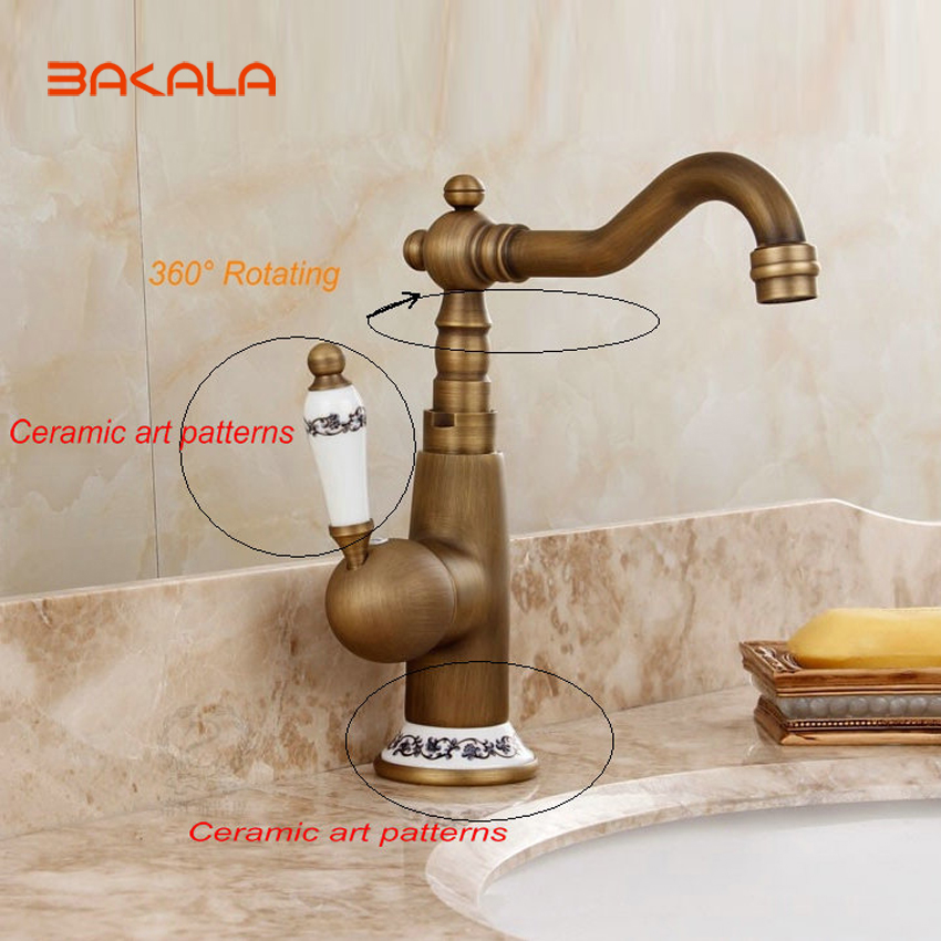 Wholesale And Retail Deck Mounted Single Handle Hole Bathroom Sink Mixer Faucet Antique Brass Hot and Cold Water Face Mixer Tap