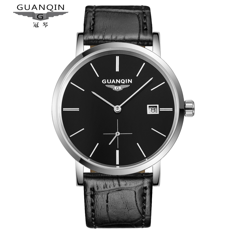 2017 New Simple Watch Super Slim Watch Men Watches Top Brand GuanQin Auto Mechanical Watch with Calendar full steel цена 2016