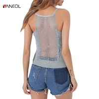 Vancol 2017 New Sexy Halter Camis Female Loose Solid Lace Stain Cropped Tops Hollow Out Sleeveless