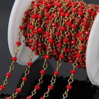 5Meter Small Red Glass beads Brass Wire Wrapped Chain,Faceted Rondelle Rosary Chains Necklace bracelet Jewelry supplies