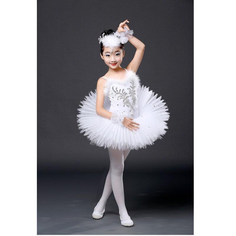 New Professional Dance Tutu Ballet Children Sequined Ballerina Costumes Kids White Swan Lake Costume Girls Ballet Dress