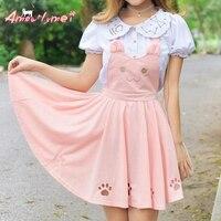 Summer Women Skirt Lolita Kawaii Cat Embroidery Princess Strap Skirt Cute Japanese Style Mori Girl Skirt Suspender Skirt Vestido