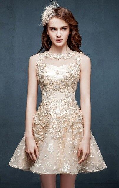 c7ee500c9 2015 Simple vestidos fiesta de graduación de champán vestido para octavo  grado flor del cordón vestidos