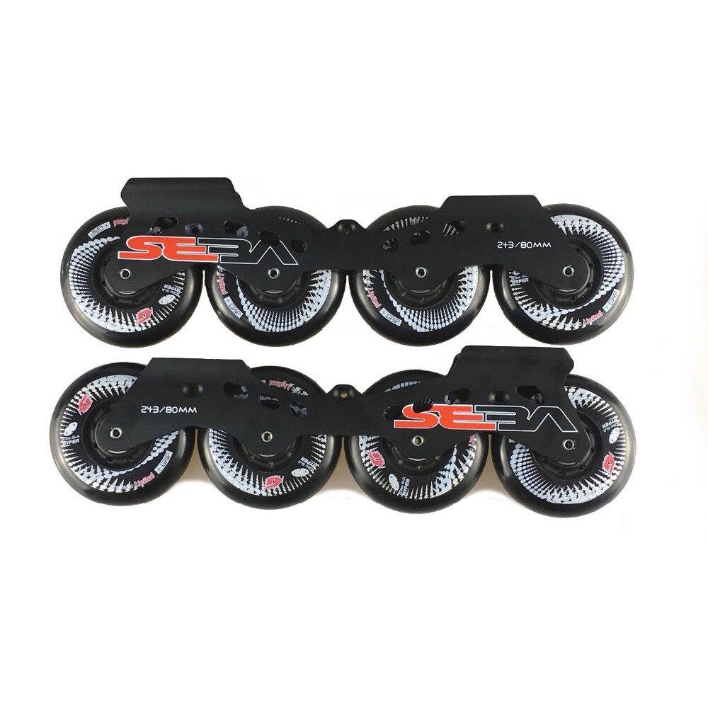 SEBA Slalom Inline Skate Base 243mm Frames With 4*80mm Original Hyper +G Concrete Wheels 165mm Distance Basing Skating Patines high quality 7005 aluminum speed inline roller skate frames 3x110mm 3 wheels skate racks 11 25 solid profiles skateblade holder