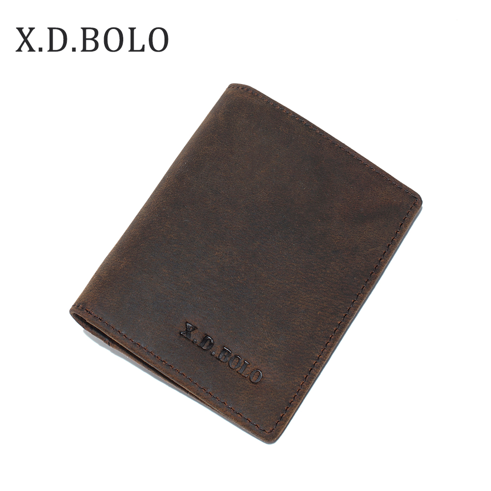 X.D.BOLO Wallet Purse Card-Holder Coin-Pocket Crazy-Horse Small Men for with 100%Genuine