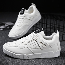 Leather Sneakers Men Shoes Casual White Lace Up Comfortable Outdoor Breathable Fashion Heightening Athletic Male JN-17