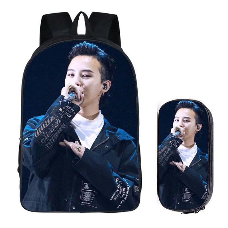Идол группа G-Dragon комплект из 2 предметов с пенал GD студенческие рюкзаки женский DIY Печать Дети Школьные сумки Mochila Feminina 2018