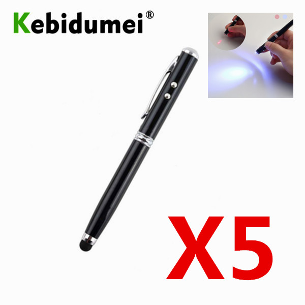 Kebidumei 5pcs 4 In 1 Laser Pointer Laser Pointer LED Torch Touch Screen Stylus Ball Pen 4 In 1 For IPhone Tablets Touch Pens