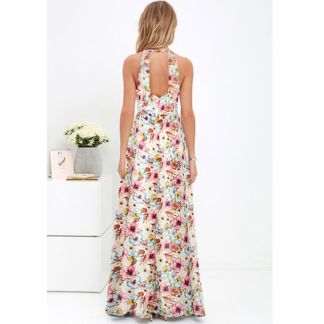 Boho Floral Print Sleeveless Summer Dress