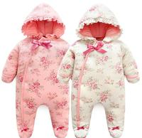 Baby Girl Clothes Spring Winter Floral Newborn Baby Girl Romper Long Sleeve 100 Cotton Hooded Baby
