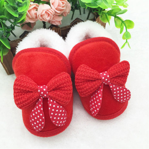 Winter Warm Newborn Baby Girl Fur Crib Soft Shoes Prewalker Red Pink Bowknot Cute Shoes 0-18M
