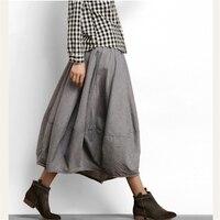 Cotton Lantern Skirt female 2018 Spring Autumn New Women's Skirt in the long paragraph Large Size art retro Linen Skirt Z447
