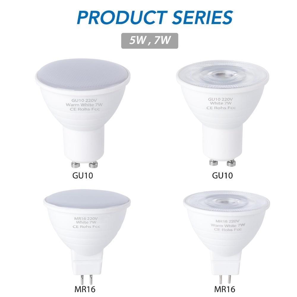 GU10 LED Lamp 220V MR16 LED Spot Light Bulbs 5W 7W Energy Saving GU5 3 Spotlight GU 10 Bulb 6 12leds Ampoule Led Maison 2835 SMD in LED Bulbs Tubes from Lights Lighting
