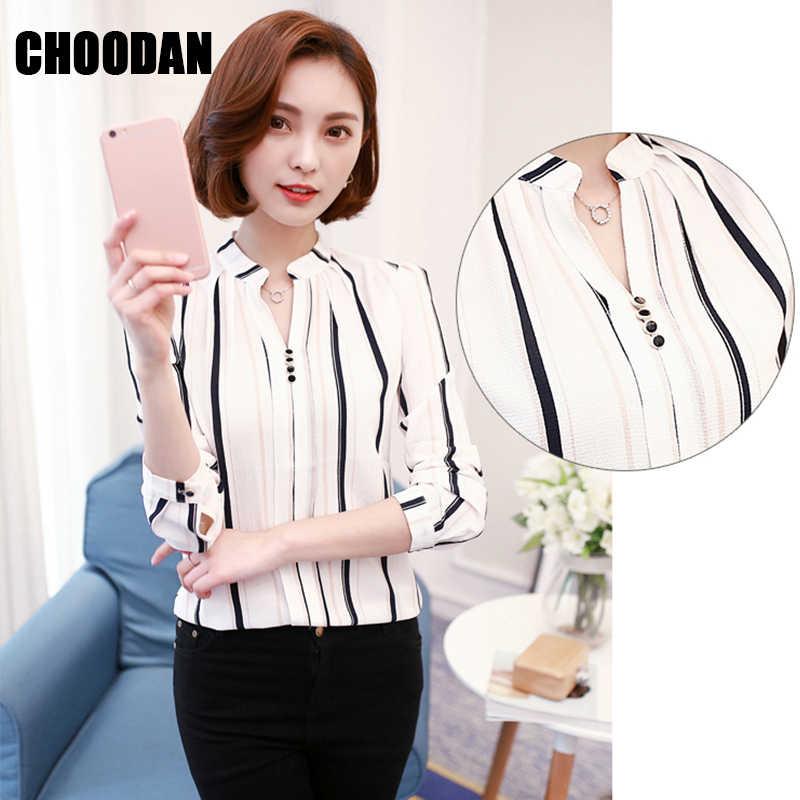 d387fa1a1be ... Блузка в полоску Блузка с длинными рукавами рубашка Для женщин печатных  шифон Топы женские 2018 Демисезонный ...