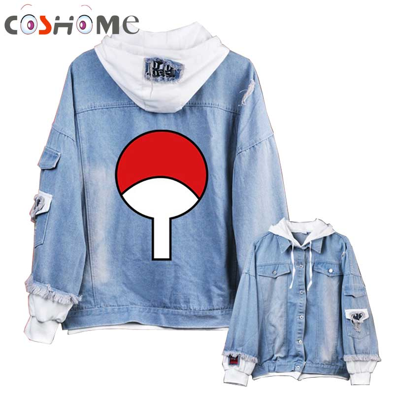 Coshome Anime Naruto Hoodies Men Women Denim Jacket Akatsuki Coat Daily Costume for Spring