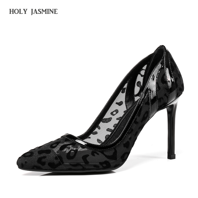 woman shoes Mesh Thin Black Pumps Pointed Toe Lace 2018 Spring/Autumn New Designer Women Luxury Shoes Elegant Party High Heels lucyever fashion buckle crystals bling pumps women elegant thin high heels point toe party wedding shoes woman glod sliver black