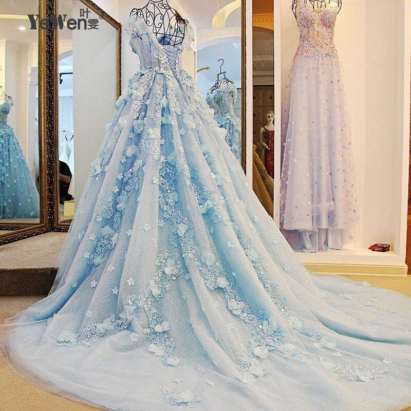 Light blue bride dress wedding gown princess beach wedding for Light blue beach wedding dress