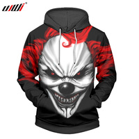 UJWI 3D Print Red Haired Clown Hoodies New Fashion Funny Cool Men Hoodie Boys Pullover Casual Tracksuits Plus Size 5XL, 6XL