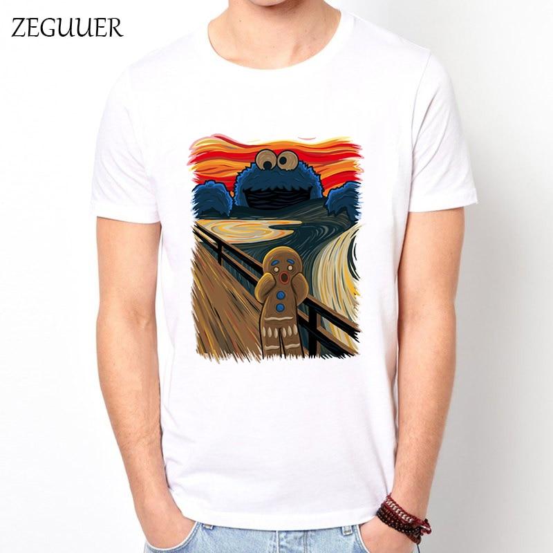 Cookie Muncher Grito De Munch Versiones Scream Tshirt Funny T Shirts Streetwear T Shirt Men Harajuku Boyfriend Gift Print Cotton
