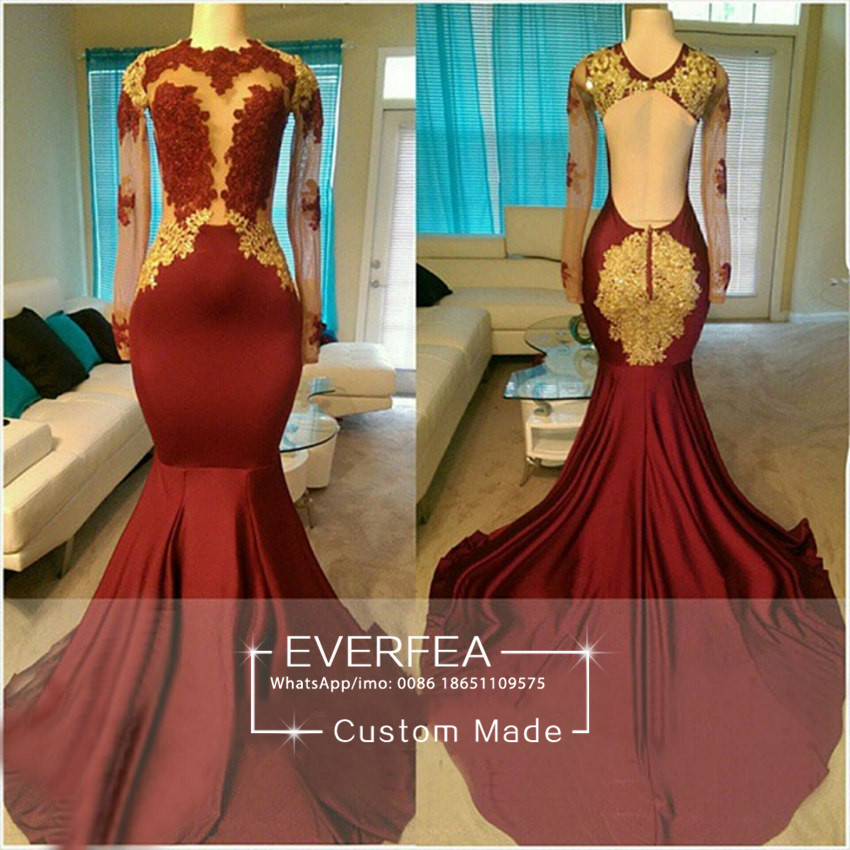b1562020208 African Prom Dresses 2017 Custom Floor Length Long Sleeve Backless .