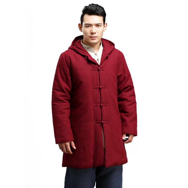 Traditional Chinese Winter Jacket Flax Men Tang Coat Hooded Parka Cotton-padded Tops Vintage Ethnic Overcoat Wing Chun jacket winter chinese style retro frog contrast color frog and print jacket coat cotton padded jacket windbreaker