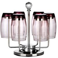 Hot 304 Stainless Steel Fashionable Cup Holder Stemware Racks Teacup Rack Wine Glass Cup Holder with 6 Rotating Hooks dropship