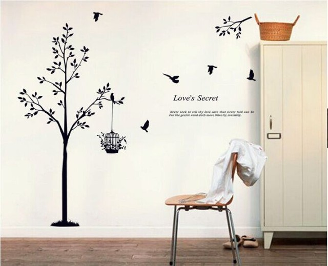 165*150cm(65*59inch) Black tree Bird Cage Vinyl Wall Decals For Living Room/Bedroom Wall Stickers Home Decoration Wallpapers 4