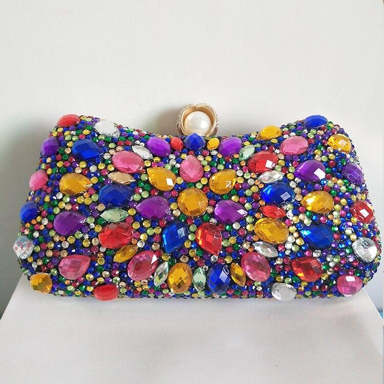 Luxecho bolsas de cristal multicolorido das mulheres