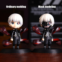 Action figure Tokyo Ghoul Kaneki Ken cartoon PVC box verpakt japanse beel wereld anime gold wood Q version of dolls car ornament