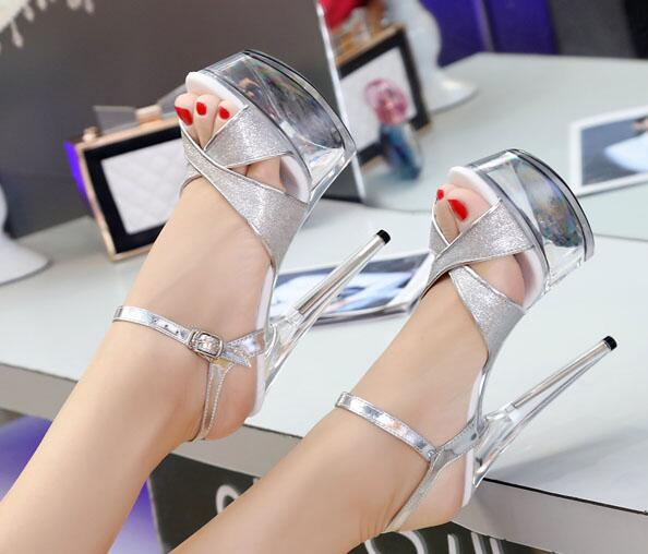 Steel Pipe Dance Shoes Sandals Women 2019 Summer 15cm High-Heels Waterproof Thick Bottom Sequins Model Car Show Nightclub Shoes