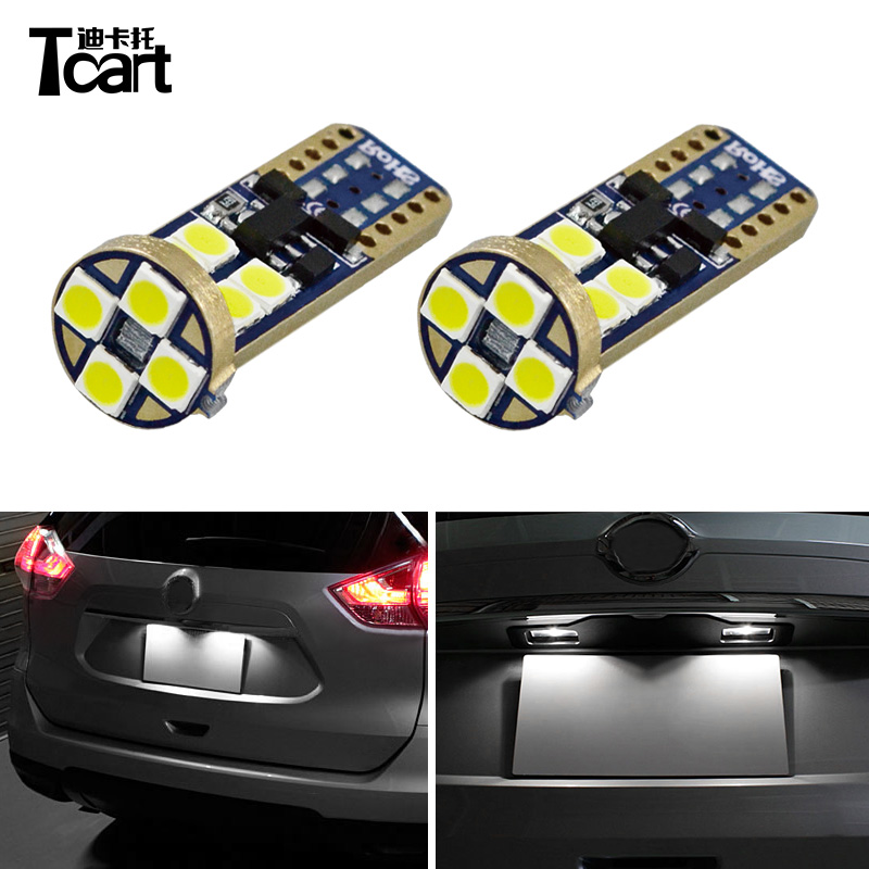 Tcart 2pcs Car <font><b>LED</b></font> T10 3030 12SMD License Plate Lights Lamps Bulbs For <font><b>Nissan</b></font> <font><b>X</b></font>-<font><b>Trail</b></font> <font><b>T32</b></font> 2014 2015 2016 2017 2018 Accessories image