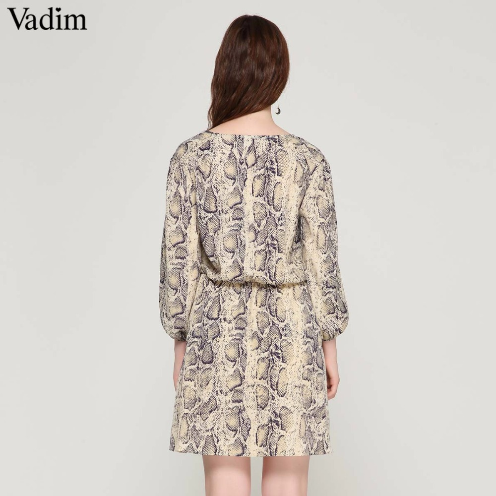 Vadim women sexy V neck snake pattern dress elastic waist three quarter sleeve pleated buttons casual