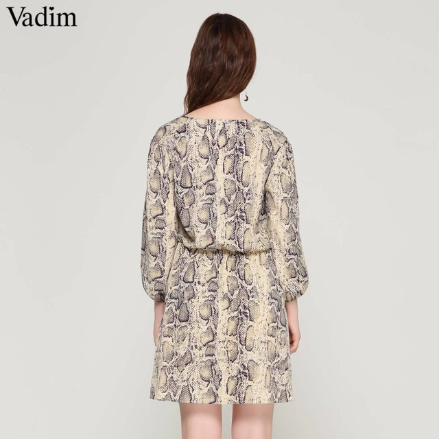 Vadim women sexy V neck snake pattern dress elastic waist three quarter sleeve pleated buttons casual mini vestidos QA423