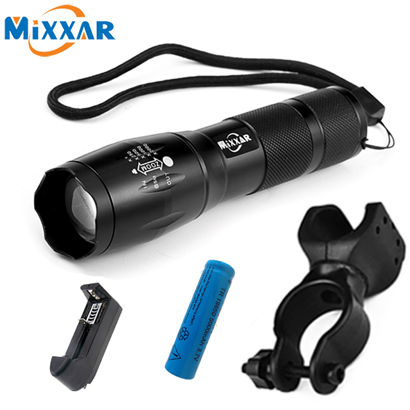 MTB LED Bike Bicycle Light Flashlight XML T6 8000LM LED Torch Zoomable Flashlight For Camping Lantern 18650 5000mAh Battery