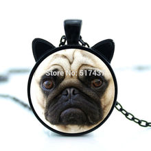 2017 New hot New Innocent Pug Necklace Glass Pug Pendant Dog Jewelry Glass Cabochon Necklace Pendant CN-00766