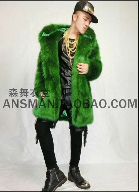 Hot new Men and women singer DJ nightclub right Zhi-Long GD green imitation fox fur hooded long coat costumes nightclub clothing