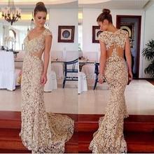 Robe de soiree, короткий рукав, бисер, длинное, просвечивающее, кружевное, вечернее платье, vestido de festa, платья для матери невесты
