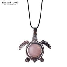 SEVENSTONE 2019 New Fashion Reiki Natural Stone Healing Jewelry Pendant Stainless Steel Turtle Alloy Charm Pendants for Women