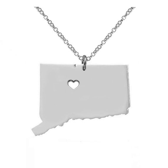 12pcs Hot Sale Connecticut State Map Pendant Necklaces High Quality Stainless Steel Choker Necklaces For Unisex Jewelry