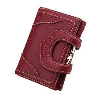 Ladies Purse Short Leather Wallet Cowhide Buckle Retro Money Bag Coin Female Card Purses Genuine Girls